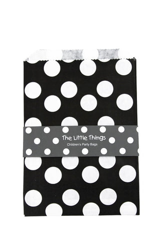 White Spots On Black Treat Party Bags (Quantity 12)  - 1