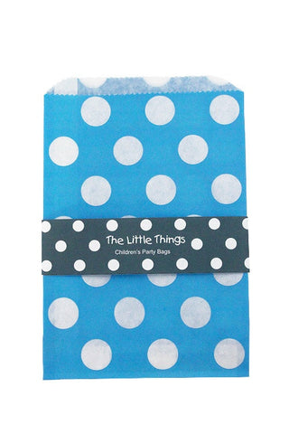 White Spots On Blue Treat Party Bags (Quantity 12) - The Little Things