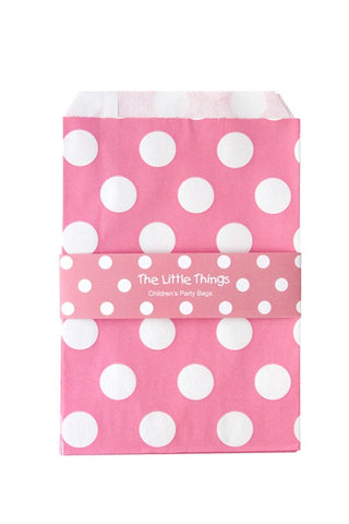 White Spots On Pink Treat Party Bags (Quantity 12)  - 1