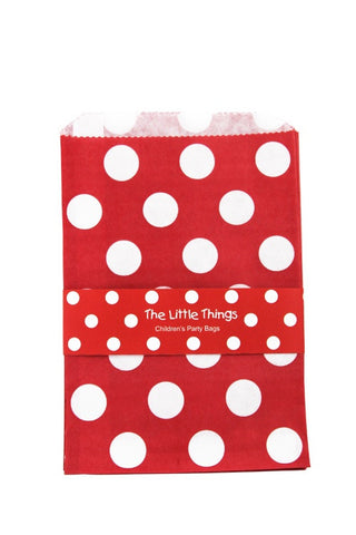 White Spots On Red Treat Party Bags (Quantity 12)  - 1