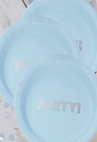 Blue and Silver Plates (Quantity 8)