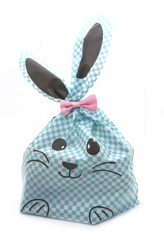 Long Eared Blue Checkered Bunny Favour Party Bags (Quantity 10)