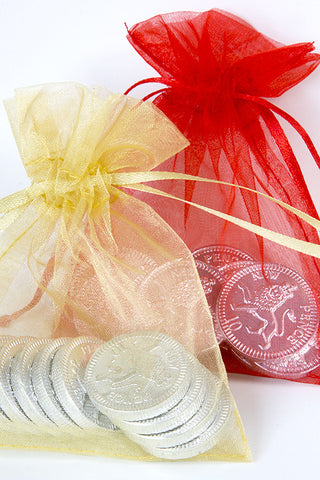 Chocolate Coins in an Organza Bag