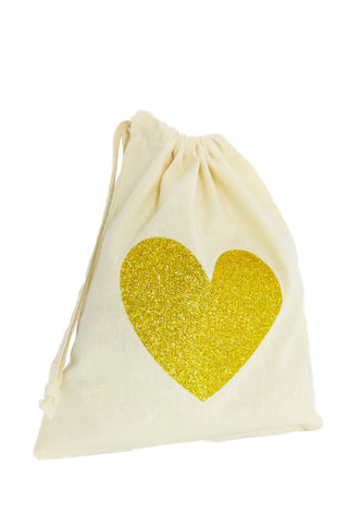 Glitter Heart Fabric Party Bag - The Little Things