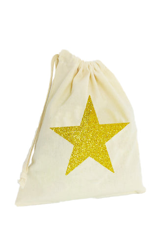 Glitter Star Fabric Party Bag