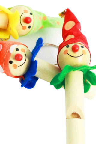 Wooden Whistle Keyring Clowns - The Little Things