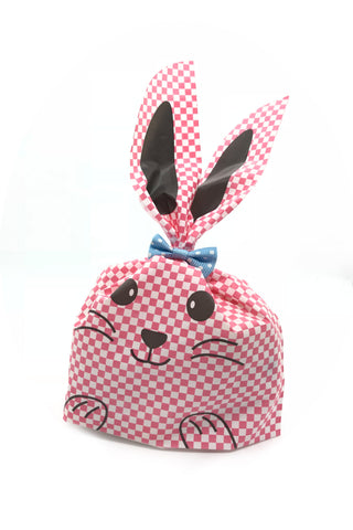Long Eared Pink Checkered Bunny Favour Party Bags (Quantity 10)