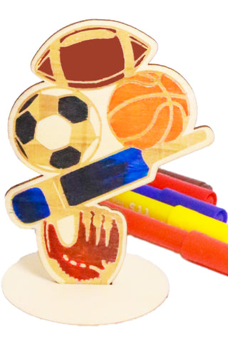 Wooden Sports Colouring Kit