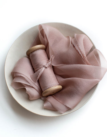 Rose Fonce Gauze Silk Ribbon