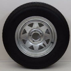 "Hi Run Trailer Tire 205/75R15 with 15"" x 5""/ 5-4.5/ Galvanized Wheel - Covered Wagon Trailers"