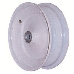"8"" x 3.75"" Fixed Hub White Wheel - Covered Wagon Trailers"
