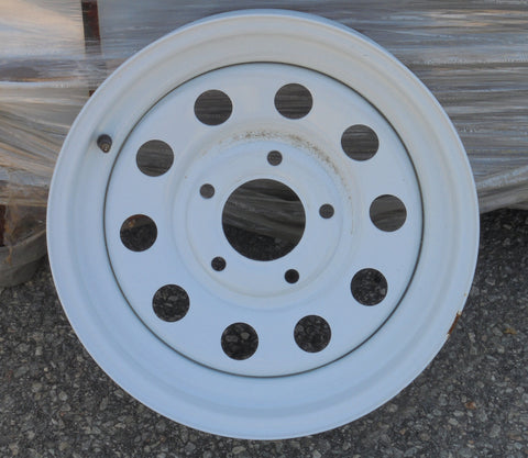 15x5  5-5 White Mod Wheel - Covered Wagon Trailers
