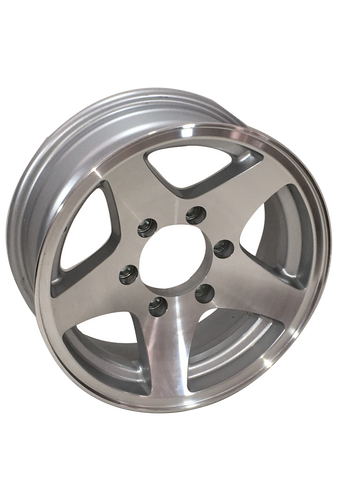 "15"" X 6""/ 6-5.5""/ Plain Aluminum Silver Wheel - Covered Wagon Trailers"