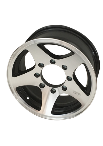 "16"" X 6"" /8-6.5"" / Black Star Aluminum Wheel - Covered Wagon Trailers"