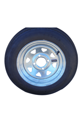 "Supercargo 4.80-12 SU02  on 12"" X 4""/  4-4""/ Galvanized 8 Spoke Wheel - Covered Wagon Trailers"