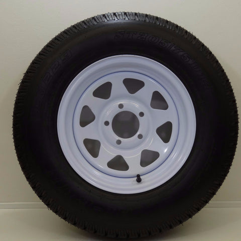 "Hi Run ST 205/75D14 / 14"" X 6""/  5-4.5""/ White Spoke Wheel - Covered Wagon Trailers"