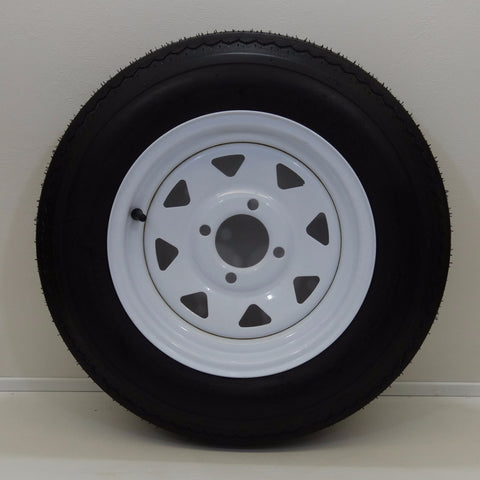 "Nanco 5.30-12 on 12"" X 4""/  4-4""/ White Spoke Wheel - Covered Wagon Trailers"