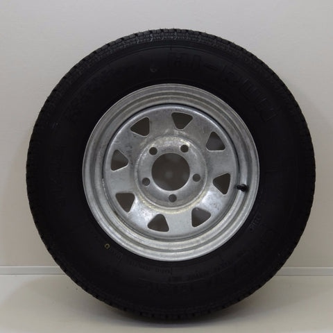 "Hi-run ST175/80R13 on 13"" X 4.5""/ 5-4.5""/ Galvanized Spoke Wheel - Covered Wagon Trailers"