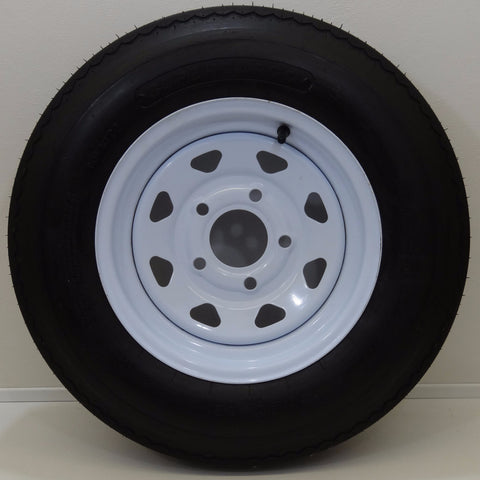 "Supercargo SU02 5.30-12 on 12"" X 4""/ 5-4.5""/ White 8 Spoke Wheel - Covered Wagon Trailers"