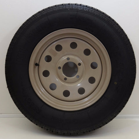 "Hi-run ST205/75R15 on 15"" X 5""/ 5-4.5"" Tan Modular Wheel - Covered Wagon Trailers"