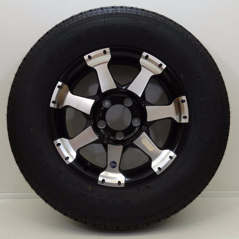 "Hi-run ST205/75R15 on 15"" X 5""/ 5-4.5""/ Black Star Aluminum Wheel - Covered Wagon Trailers"