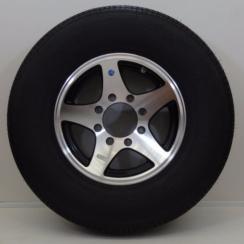 "Hi Run ST235/80R16 on 16"" X 6"" /8-6.5""/ Black Star Wheel - Covered Wagon Trailers"