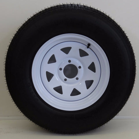 "Hi-run ST225/75R15 on  15"" X 6""/ 5-4.5""/ Spoke White Wheel - Covered Wagon Trailers"