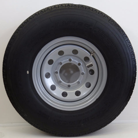 "Longmarch 235/85R16 Tire on 16"" X 6""/ 8-6.5/ Silver Modular Wheel - Covered Wagon Trailers"