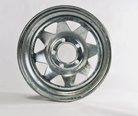 14x6 5-4.5 Galvanized Spoke Wheel - Covered Wagon Trailers