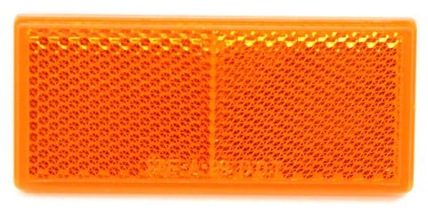 Rectangular Trailer reflector Adhesive mount Amber - Covered Wagon Trailers