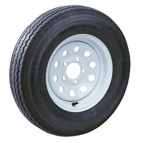 "Hi-run ST205/75R14 on 14"" X 6""/ 5-4.5""/ White Modular Wheel - Covered Wagon Trailers"