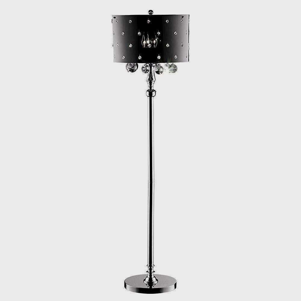 Elegant and modern black and silver floor lamp with black and silver elegant and modern black and silver floor lamp with black and silver crystals aloadofball Gallery