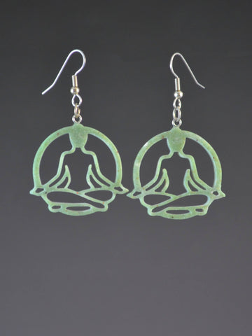 Yoga Lotus Earrings Jade color
