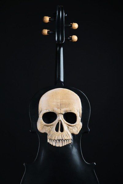 carved skull violin, memento mori, Violin shaped object