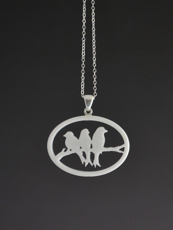 Birds on a branch Corian and Sterling Silver Pendant