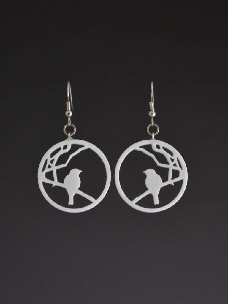 Lightweight White Upcycled Corian Bird Earrings