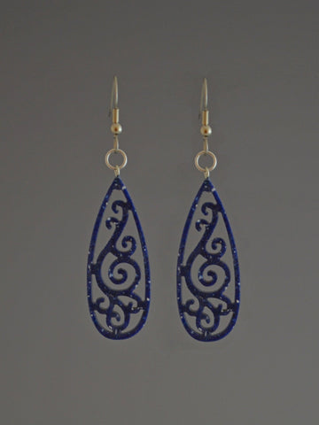 Filigree Drop Corian Earrings Blue