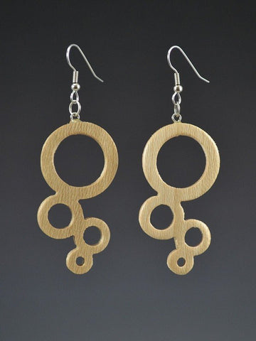 Bubble Large Wood Earrings