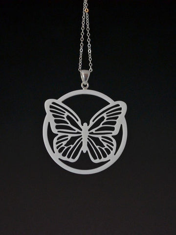 Butterfly Corian and Sterling Silver Pendant