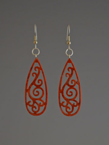 Filigree Drop Corian Earrings Copper