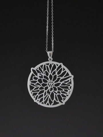 Dahlia Flower Corian and Sterling Silver Pendant