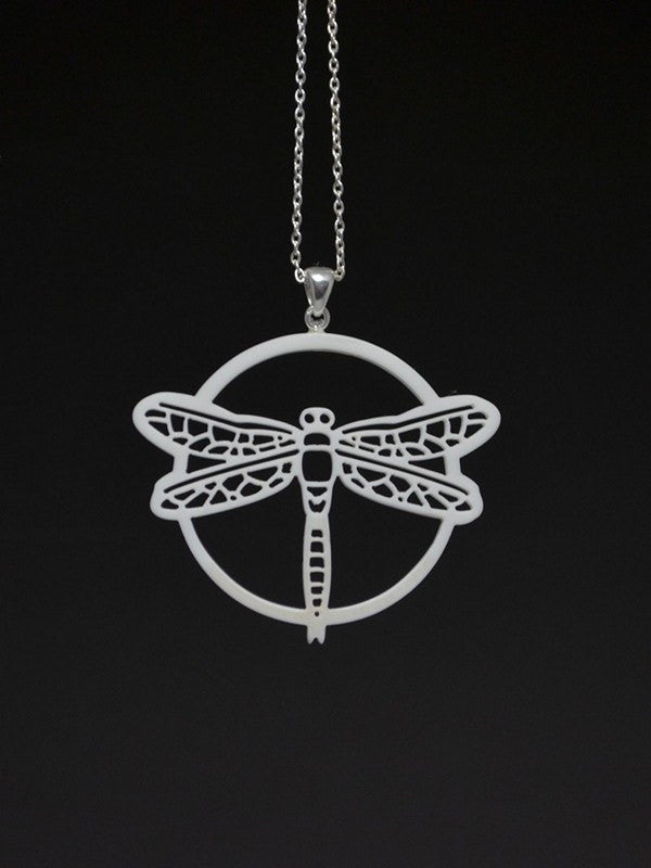 Dragonfly Corian and Sterling Silver Pendant