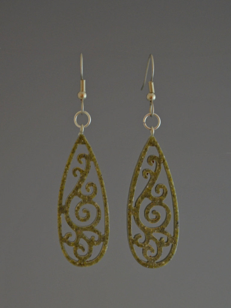 Filigree Drop Corian Earrings Green