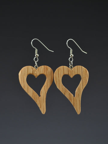 Heart Large Wood Earrings