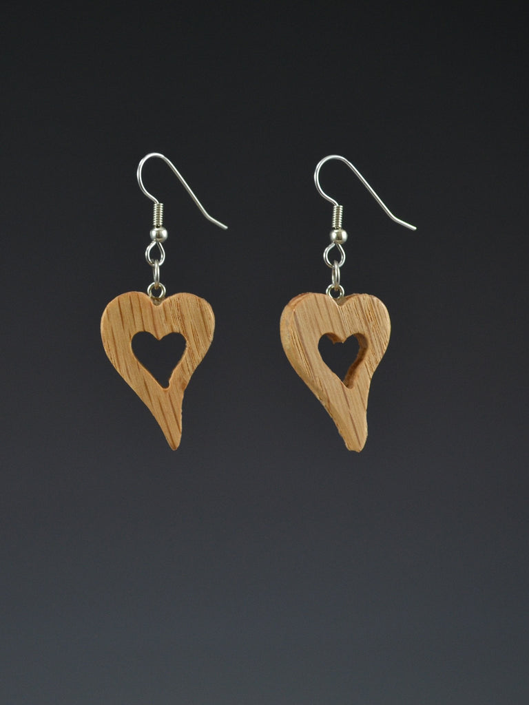 Heart Small Wood Earrings