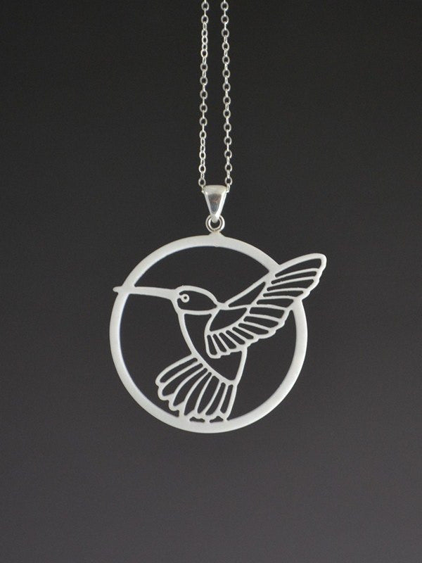 Hummingbird Corian and Sterling Silver Pendant