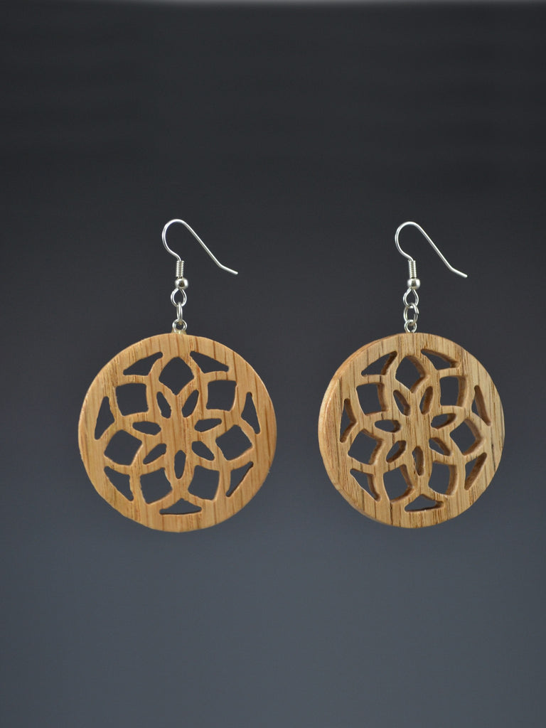 Infinity Flower Wood Earrings