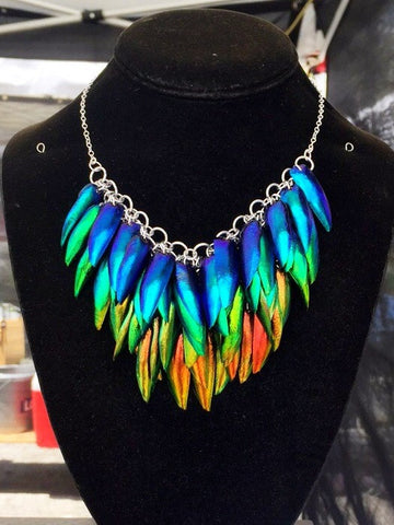 Multicolor Jewel Beetle Elytra Necklace