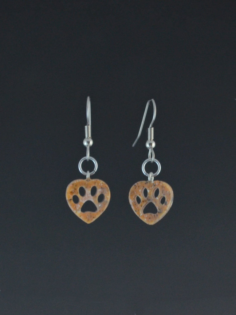 Puppy Paw small Corian Earrings rust color