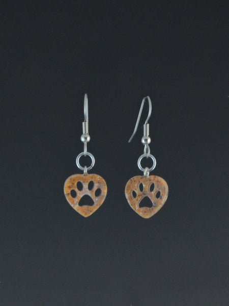 Puppy Paw small Corian Earrings rust color 2 pair